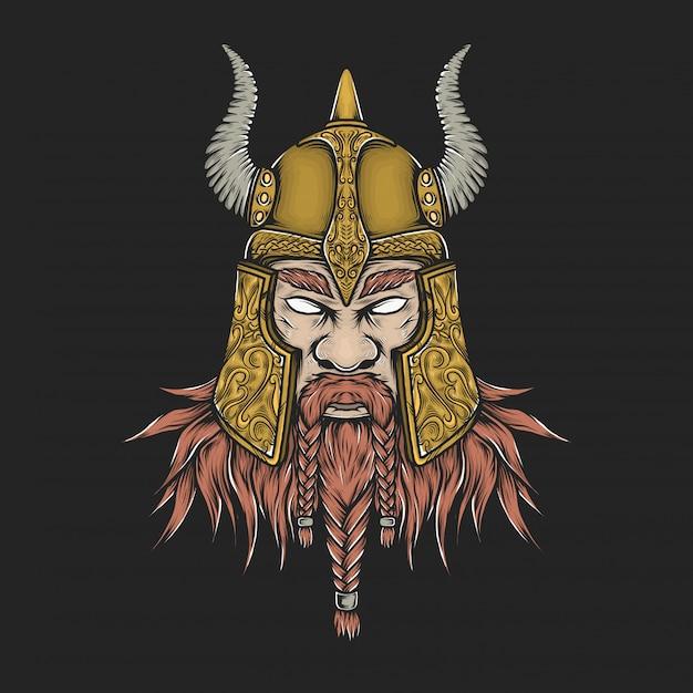 Mão desenho ilustração em vetor vintage viking cabeça Vetor Premium