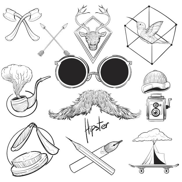Mao Desenho Ilustracao Jogo De Hipster Estilo Vetor Gratis