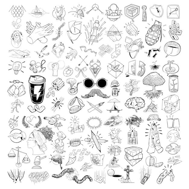 Mão, desenho, ilustração, misturado, jogo, de, estilo vida Vetor grátis