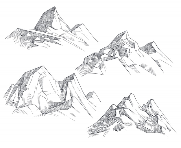 Mão, desenho, picos montanha, isolado, retro, etching, esboço Vetor Premium