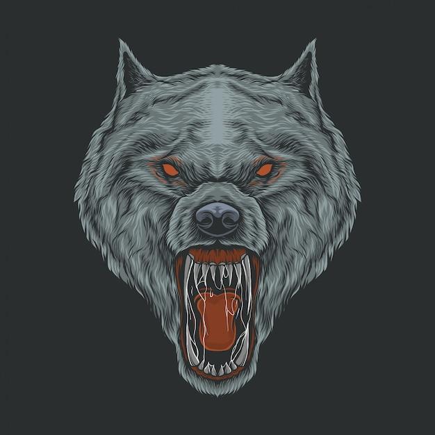 Mão, desenho, vindima, lobo bravo, ilustração Vetor Premium