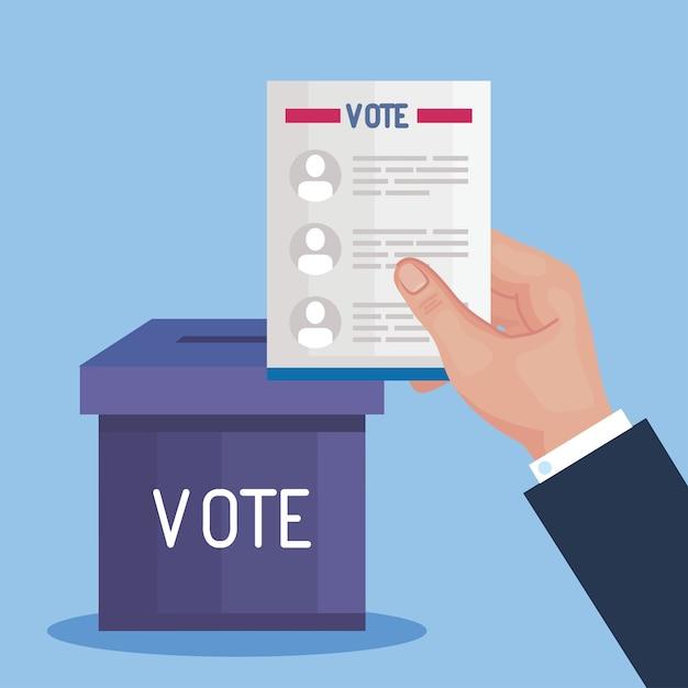 Mão do dia da eleição segurando papel dos presidentes de votação e design de caixa, governo e tema de campanha Vetor Premium