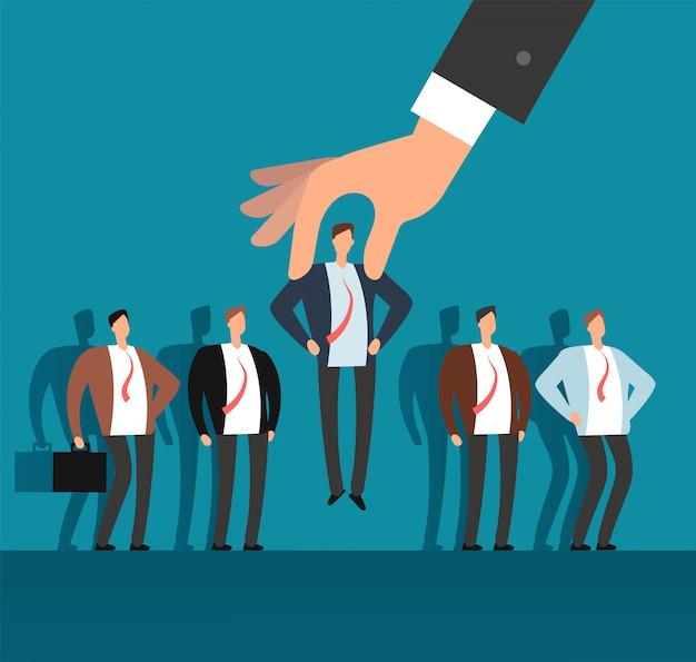 Mão do empregador que escolhe o homem do grupo selecionado de pessoas. conceito de negócio de vetor de recrutamento Vetor Premium