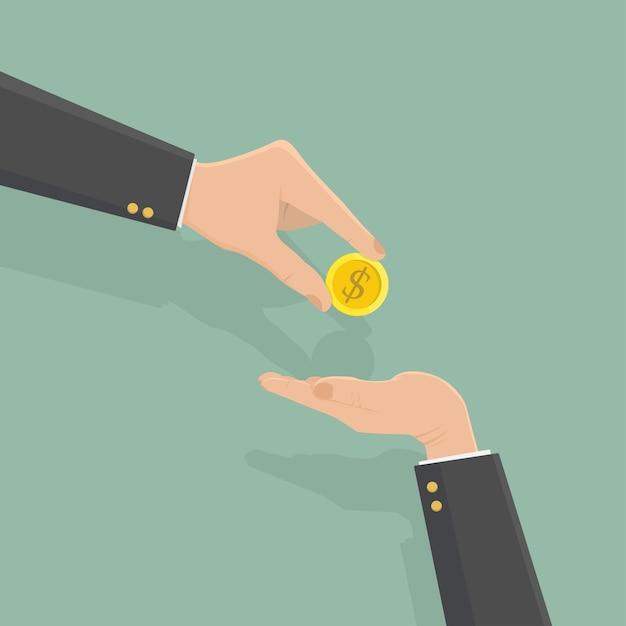 Mão do empresário dando moeda de dinheiro Vetor Premium