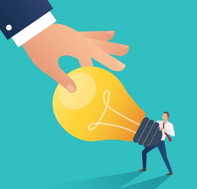 Mão do negócio que rouba a ampola da ideia. plágio Vetor Premium