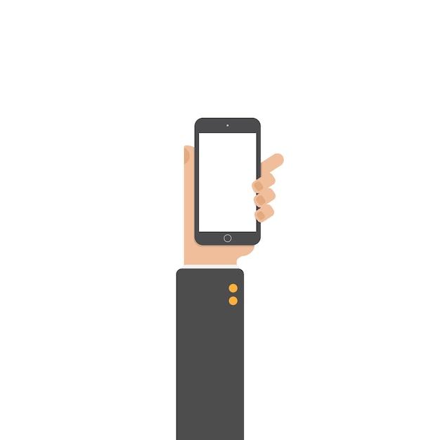 Mão do telefone da preensão do homem de negócios e do telefone do toque. Vetor Premium