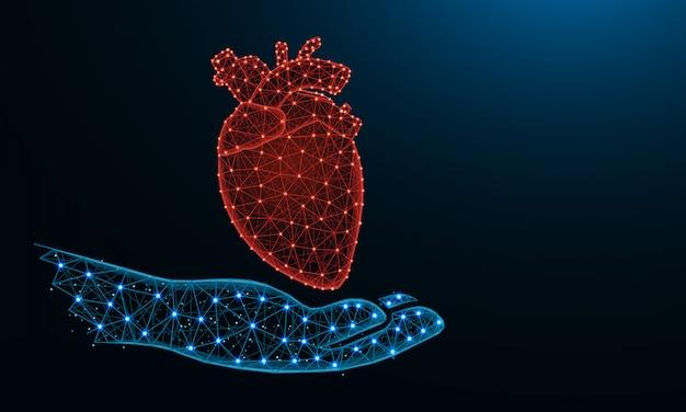 Mão e coração humano baixo poli Vetor Premium