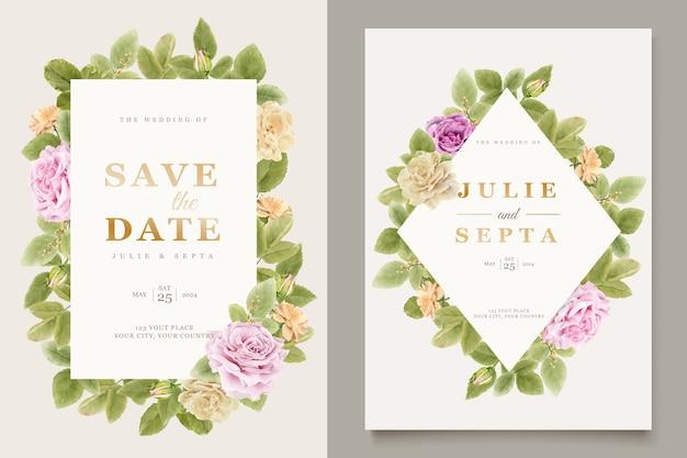 Mão elegante desenho convite de casamento design floral Vetor grátis