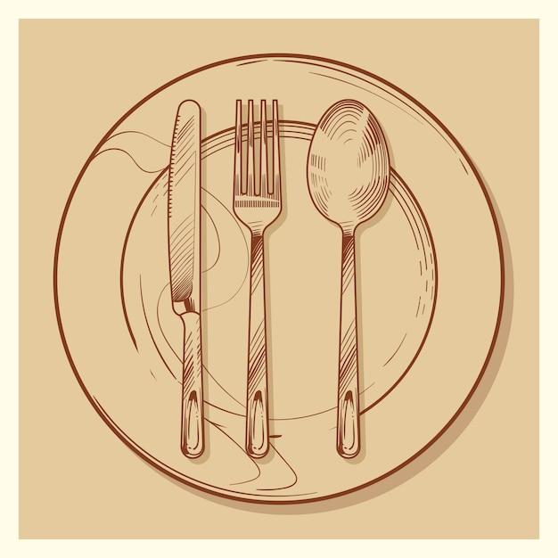 Mão esboçada vintage talheres e prato ilustração Vetor Premium