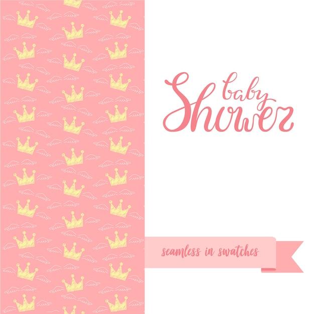 Mão esboçou cartaz de chuveiro de bebê com padrão sem emenda. Vetor Premium