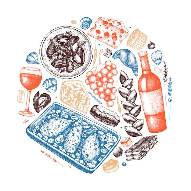 Mão esboçou ilustração de comida e bebidas francesa. composição da moda da cozinha francesa. perfeito para receita, menu, rótulo, ícone, embalagem. modelo vintage de alimentos e bebidas. ilustração de restaurante Vetor Premium