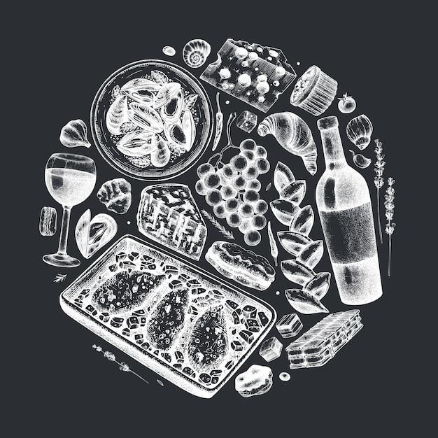 Mão esboçou ilustração de comida e bebidas francesa na lousa. composição da moda da cozinha francesa. perfeito para receita, menu, rótulo, ícone, embalagem. modelo vintage de alimentos e bebidas. Vetor Premium