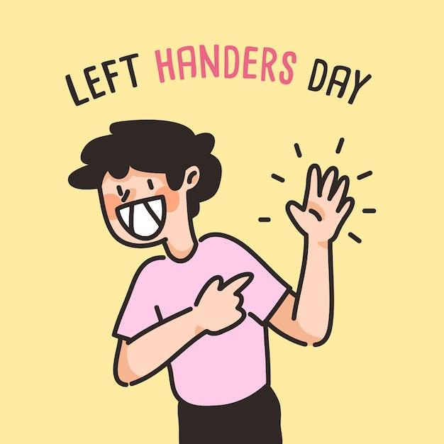 Mão esquerda dia pessoas bonito mão esquerda desenho cartoon Vetor Premium
