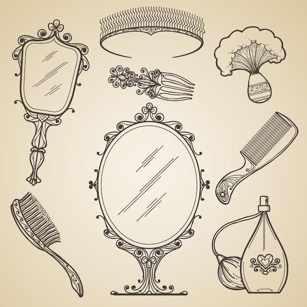 Mão-extraídas beleza vintage e itens de maquiagem retrô. doodle de moda e espelho de esboço. ícones de vetor vintage beleza maquiagem retrô Vetor grátis
