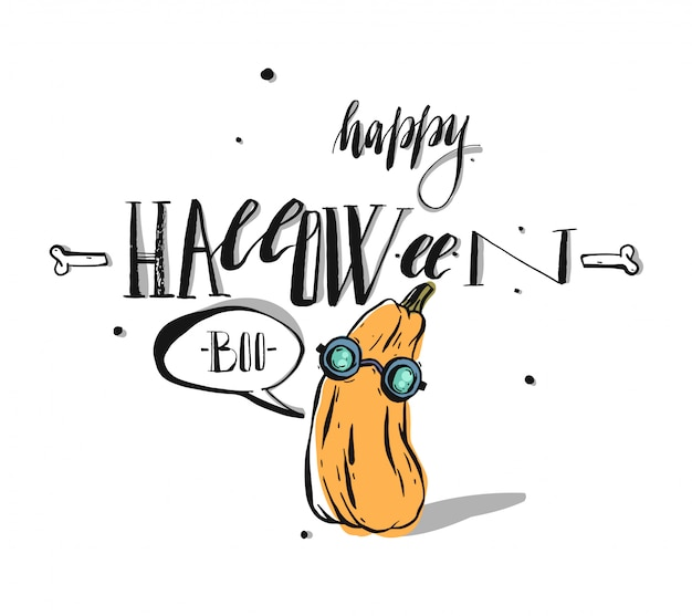 Mão-extraídas cartão de feliz dia das bruxas caligrafia. banner de halloween ou cartaz com caráter abóbora bonito no fundo branco. Vetor Premium
