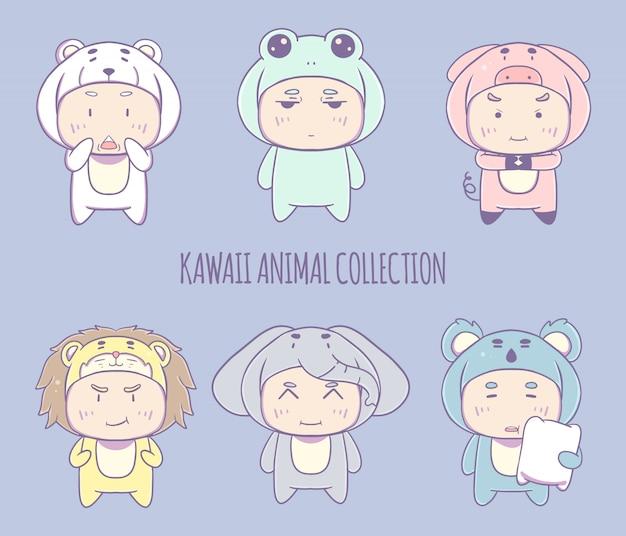 Mão-extraídas coleção de ilustração de personagem de fantasia animal kawaii. Vetor Premium