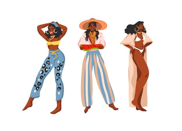 Mão-extraídas coleção plana abstrata estoque ilustração gráfica definida com jovens afro-americanos felizes positivos positivos, mulheres de beleza em trajes de verão, isolados no fundo branco. Vetor Premium