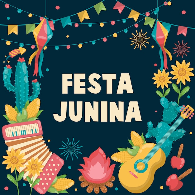 Mão-extraídas festa junina brasil junho festival. feriado do folclore. guitarra, acordeão, cacto, verão, girassol, fogueira, bandeira Vetor Premium