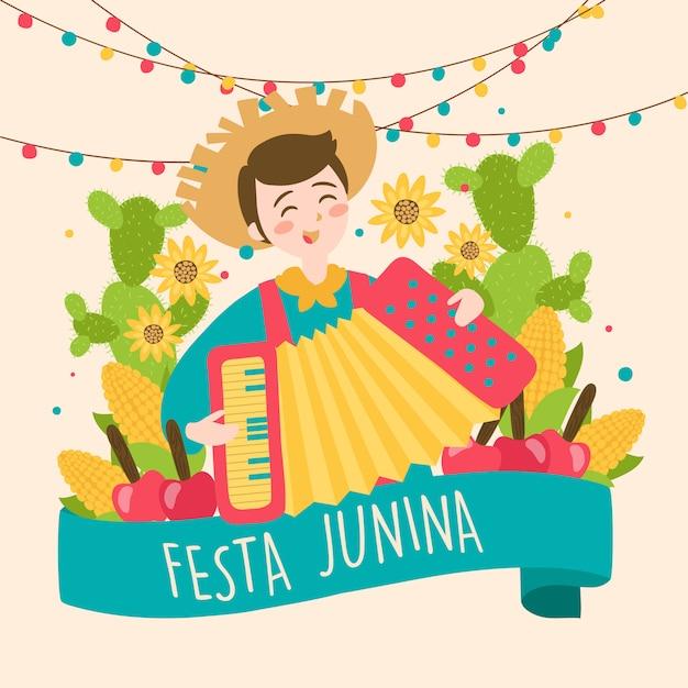 Mão-extraídas festa junina brasil junho festival. feriado do folclore. Vetor Premium