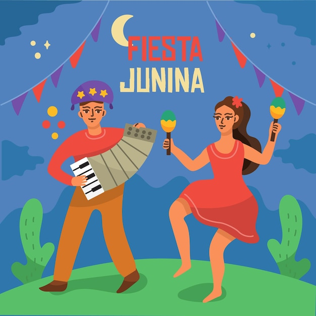 Mão-extraídas festa junina conceito Vetor grátis