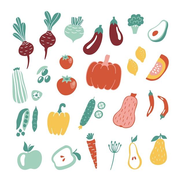 Mão-extraídas frutas e legumes coleção. Vetor Premium