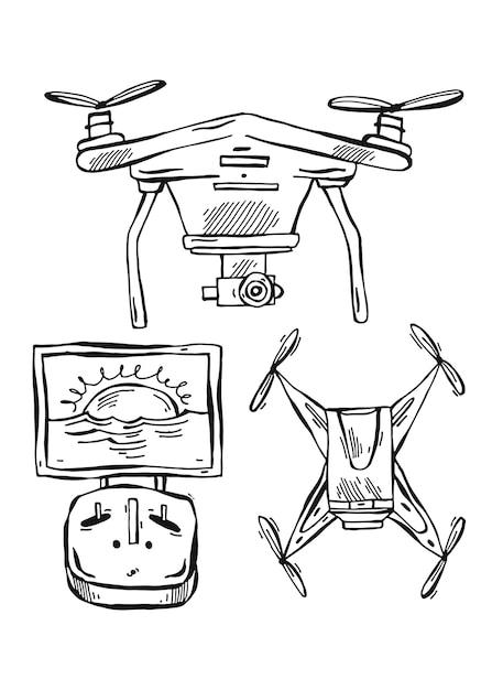 Mão-extraídas ilustração alinhada de drones isolados no fundo branco. Vetor Premium