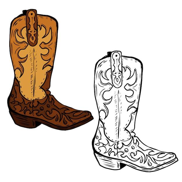 Mão-extraídas ilustração de botas de caubói. elemento para cartaz, folheto. ilustração Vetor Premium