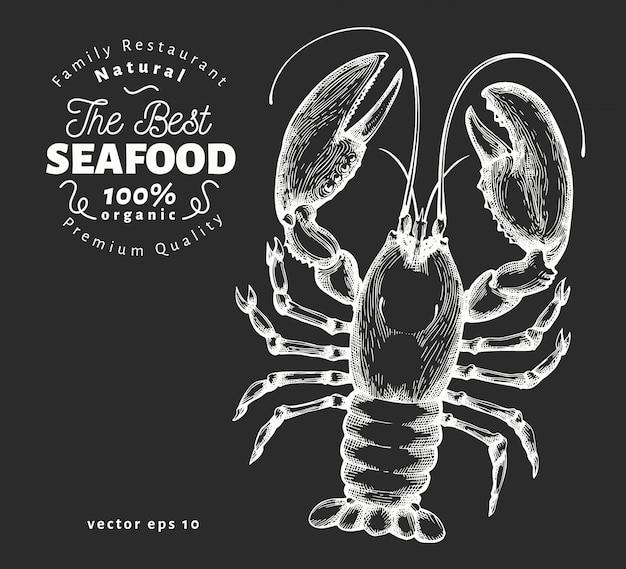 Mão-extraídas ilustração de frutos do mar na lousa. Vetor Premium