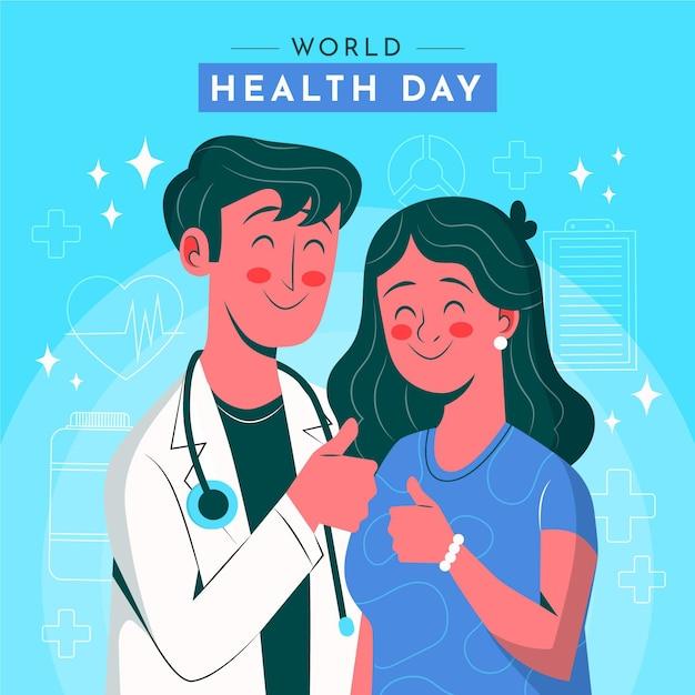 Mão-extraídas ilustração do dia mundial da saúde com médico e paciente dando os polegares para cima Vetor grátis