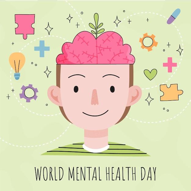 Mão-extraídas ilustração do evento do dia mundial da saúde mental Vetor grátis