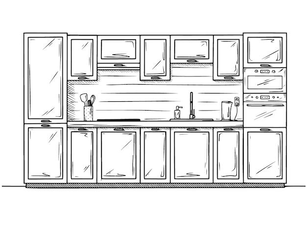 Mão-extraídas móveis de cozinha. Vetor Premium