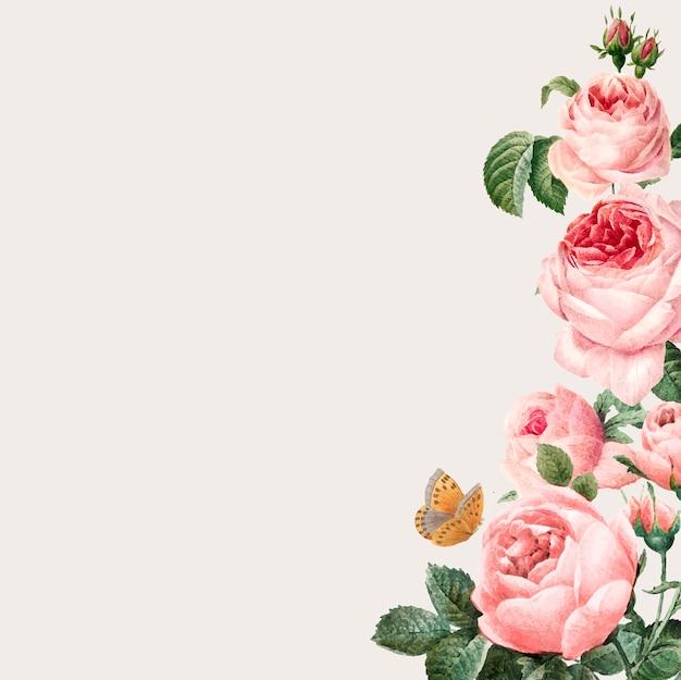 Mão-extraídas quadro de rosas cor de rosa em fundo bege Vetor grátis