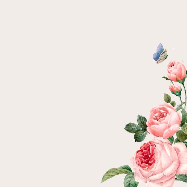 Mão-extraídas quadro de rosas cor de rosa no vetor de fundo bege Vetor grátis