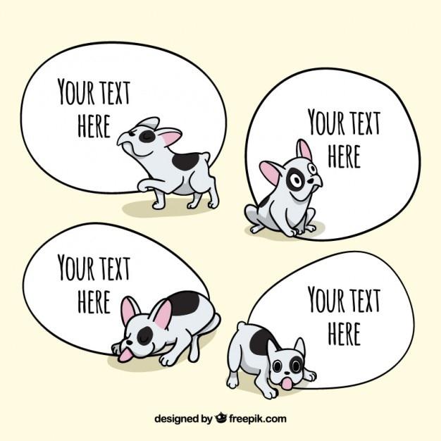 Mão filhote de cachorro lindo desenhado com bolhas do discurso Vetor grátis