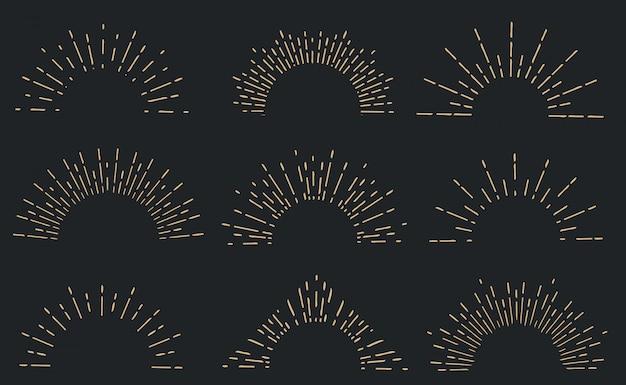 Mão geométrica desenhada raios de sol, estrelas de raio de linhas. Vetor Premium
