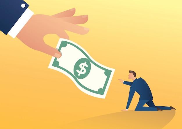 Mão grande dá dinheiro ao empresário Vetor Premium