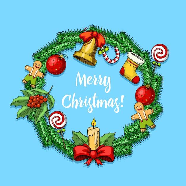 Mão gravada desenhada no desenho antigo e estilo vintage para etiqueta. feliz natal coleção de ano novo. decoração de férias de inverno. brinquedo da árvore do abeto, vela e pão de mel, pirulito de azevinho, ramo de abeto. Vetor Premium