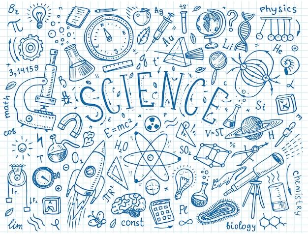 Mão gravada desenhada no estilo antigo de desenho e vintage. fórmulas e cálculos científicos em física e matemática, química e biologia ou astronomia no quadro branco. educação e ciência. Vetor Premium