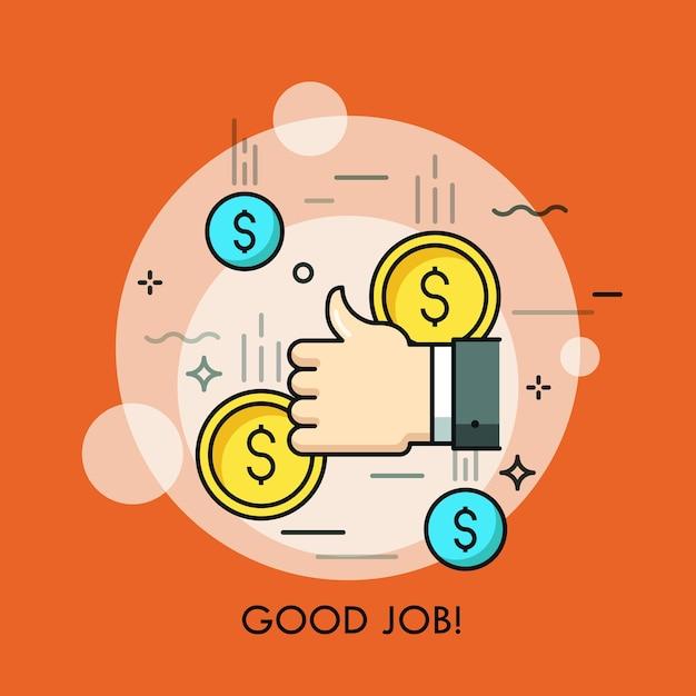 Mão humana fazendo gesto de polegar para cima e moedas de dólar caindo conceito de boa aprovação de trabalho conclusão bem sucedida de trabalho de sucesso financeiro Vetor Premium