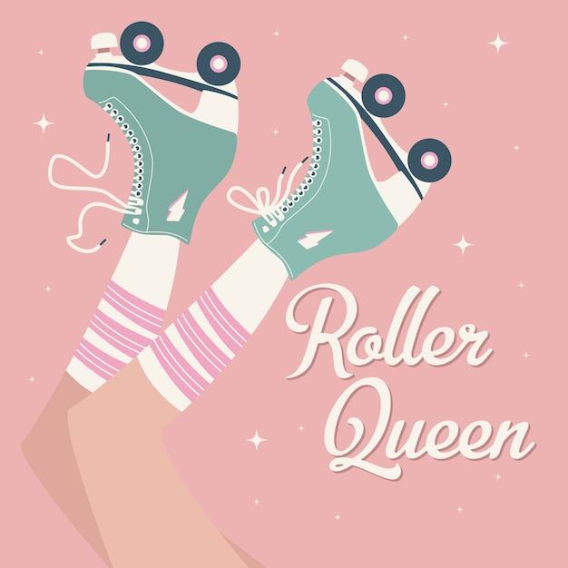 Mão ilustrações desenhadas com pernas femininas e meias tubo e patins retrô. Vetor Premium
