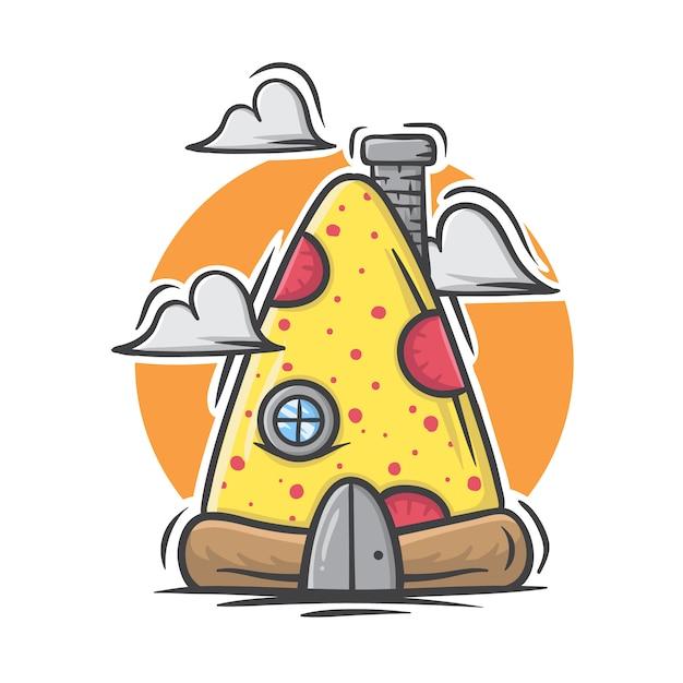 Mão ilustrações desenhadas de casa de pizza no fundo branco Vetor Premium
