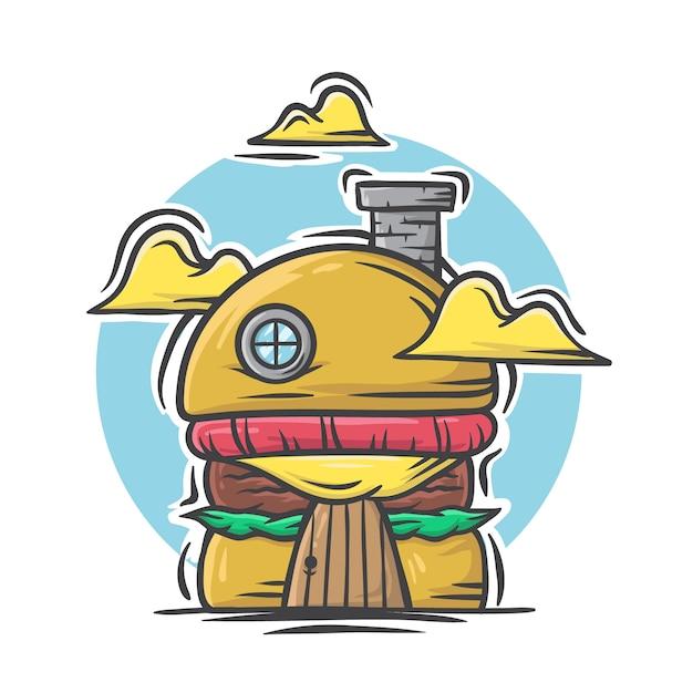 Mão ilustrações desenhadas de hambúrguer grill casa no fundo branco Vetor Premium