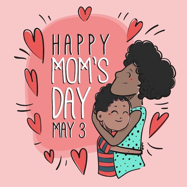Mão ilustrações desenhadas de mãe com filho Vetor Premium