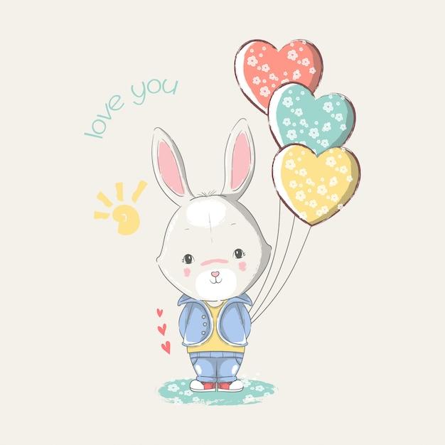 Mão ilustrações desenhadas de um coelho bebê fofo com balões de coração. Vetor Premium