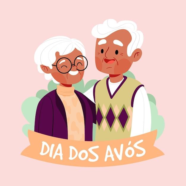 Mão ilustrações desenhadas dia dos avós Vetor Premium