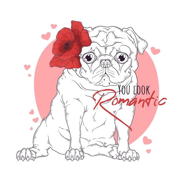 Mão ilustrações desenhadas do cão pug com flores Vetor Premium