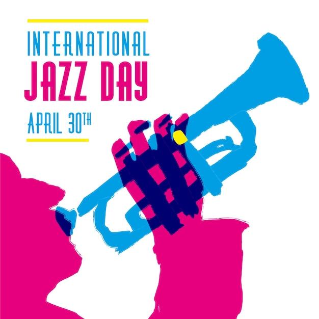 Mão ilustrações desenhadas do dia internacional do jazz com músico Vetor grátis