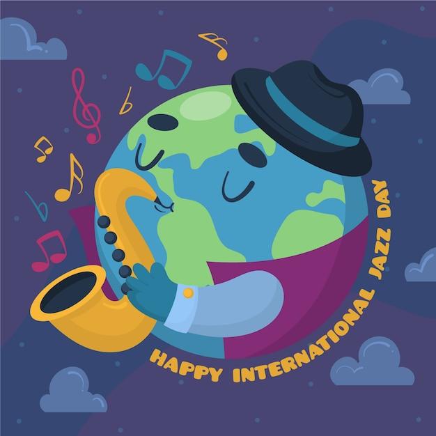 Mão ilustrações desenhadas do dia internacional do jazz Vetor grátis