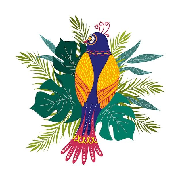 Mão isolada desenhar pássaros exóticos e folhas tropicais. estilo moderno. vetor Vetor Premium