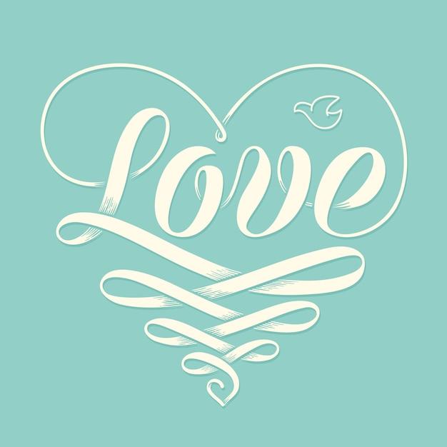 Mão lettering amor no coração com fita de gravura da velha escola e pombo para cartão Vetor Premium